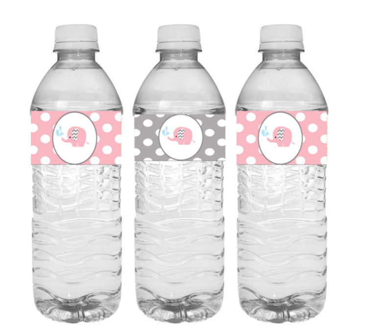 Pink Elephant Baby Shower Water Labels