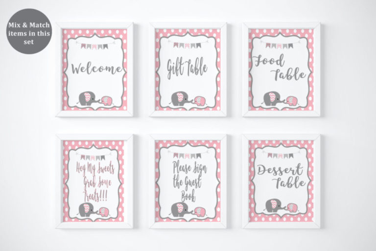 Baby Elephant Baby Shower T Tags Girl Baby Shower Decorations