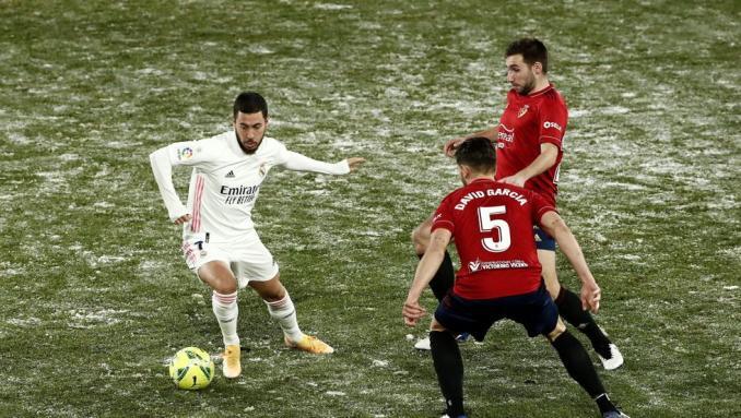 Hazard thi đấu trong trận gần nhất của Real Madrid - hòa chủ nhà Osasuna 0-0 hôm 9/1. Ảnh: EFE