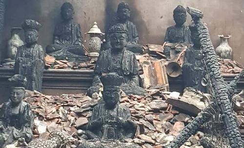 Vụ cháy thiêu rụi toàn bộ ngôi chùa Thanh Sơn và đồ thờ có giá trị.