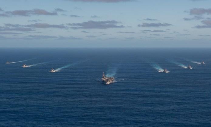 Nhóm tàu sân bay Mỹ di chuyển trên Thái Bình Dương hồi tháng 1. Ảnh: US Navy.