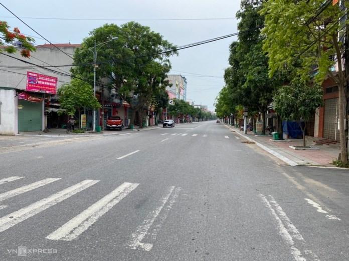Đường phố Thuận Thành, Bắc Ninh những ngày phong toả. Ảnh:CTV