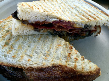 Pastrami grilled cheese — Panini-style.