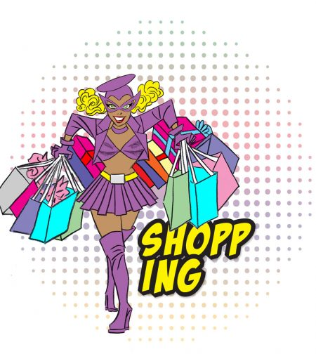 """Miss Moneypenny Hometown: Santa Paula Super Power: Selective telepathy: knows when a sale is about to happen Hobby: Shopping Favorite food: Vietnamese pho (or whatever else is trendy) Catchphrase: """"It's in the bag!""""  Illustration by Rafael Navarro"""