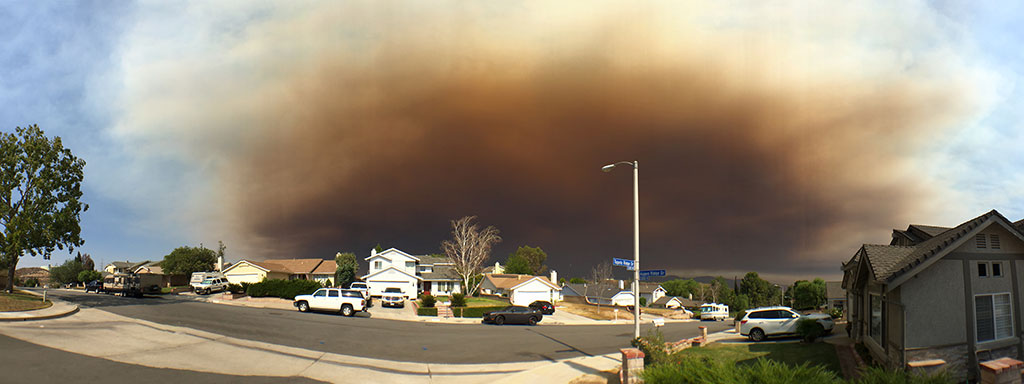 Apocalyptic ash and smoke cloud from the Sand Fire in July as seen from a residential street in Santa Clarita.