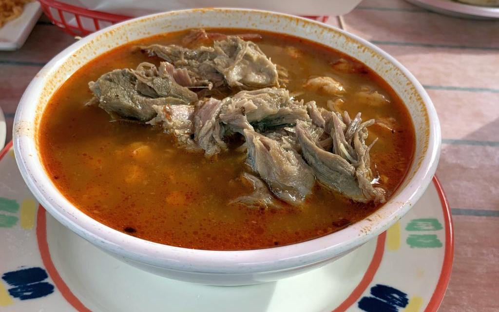 Pozole and pastor on the patio