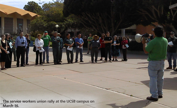 The service workers union rally at the UCSB campus on March 16.