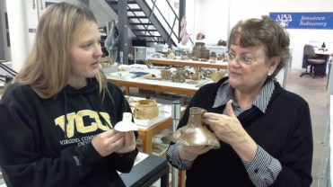 Lauren and Merry discuss the replica of the Bartmann jug fragment and compare it to the original.