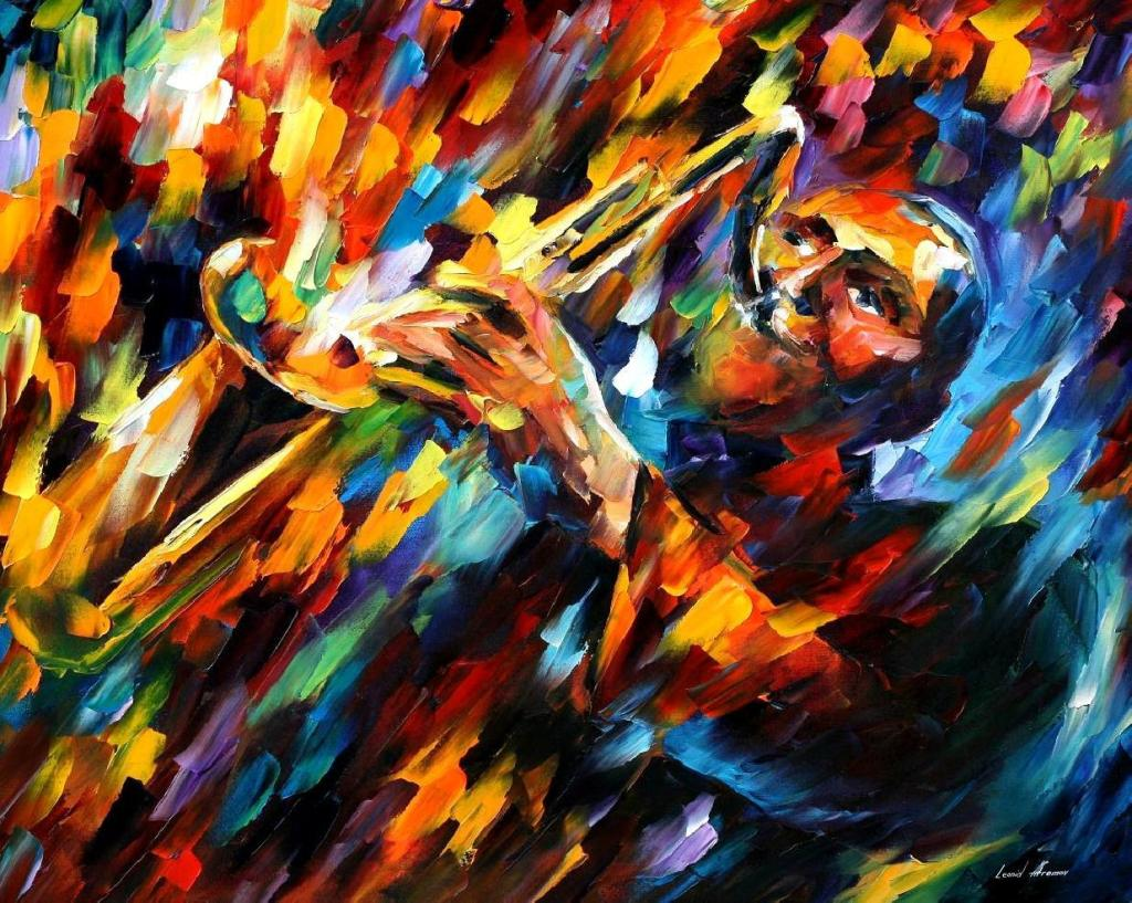 Painting of jazz musician