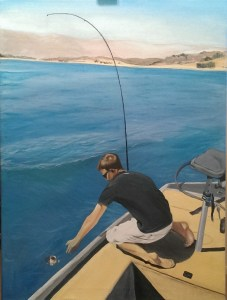This is an acrylic painting of my beau, Beau, fishing Lake Casitas when he was 17 years old.
