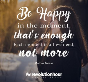 Be Happy in the moment, that's enough. Each moment is all we need not more.