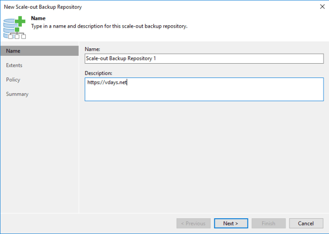 Veeam Ajouter un Scale-out Backup Repository SOBR