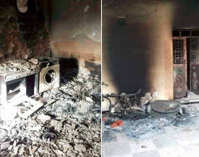 عفرين: اضرام النار في منازل المدنيين