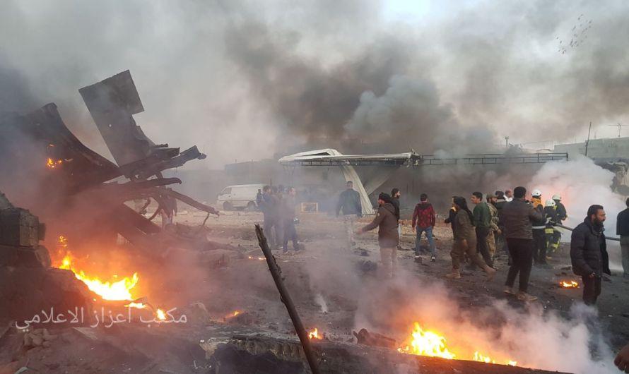 قتلى وإصابات في انفجار شاحنة مفخخة وسط مدينة اعزاز
