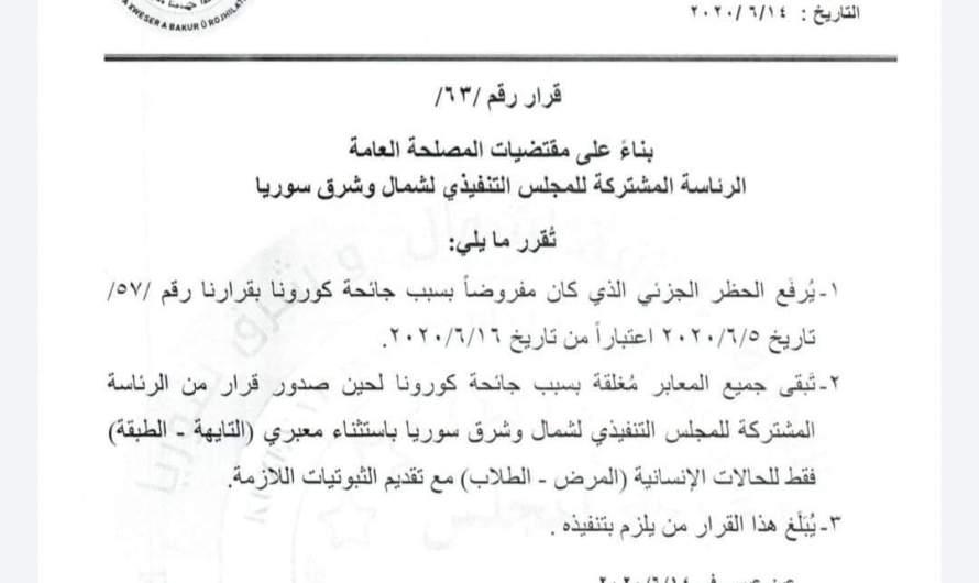 """""""الإدارة الذاتية"""" تقرر تخفيف المزيد من قيود كورونا شمال شرق سوريا"""