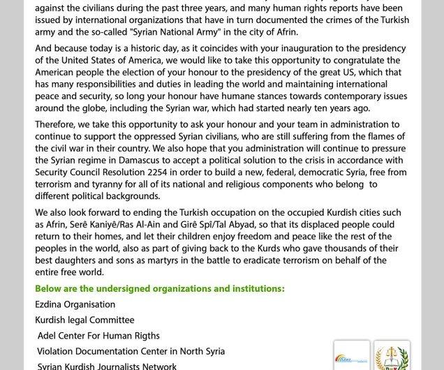 في رسالة الى الرئيس الأميريكي منظمات سورية تطالب بإنهاء الاحتلال التركي لمدينة عفرين وعودة سكانها