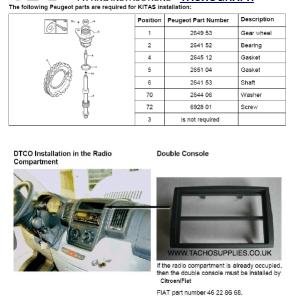 CITROEN RELAY TACHOGRAPH FITTING INSTRUCTIONS, MANUAL FWD