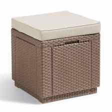 Allibert Σκαμπό με Αποθηκευτικό Χώρο Cube Χρώμα Καπουτσίνο 228096