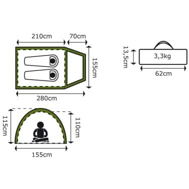 Camp Gear 2-Person Tent Missouri 280x155x115 cm Green