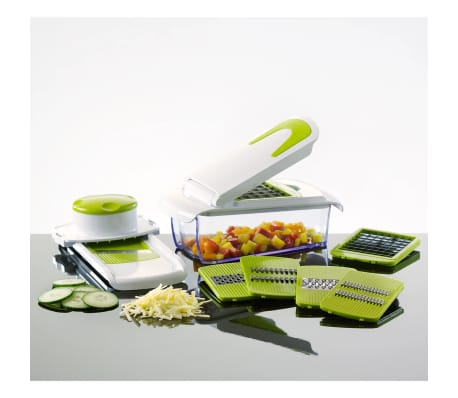 kitchen mandoline faucets sale details about enrico seven piece vegetable slicer and chopper set green with the unique all in one mandolin from you can slice chop cut veggies right into your salad this versatile