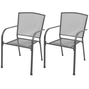 stacking dining chairs uk toddler upholstered vidaxl outdoor 2 pcs steel mesh co 1 6