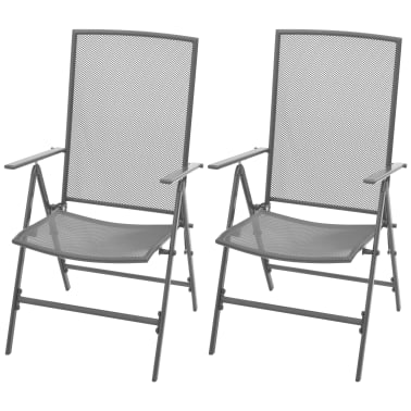 outdoor recliner chairs uk low cost chair covers vidaxl reclining 2 pcs steel mesh co 1 8