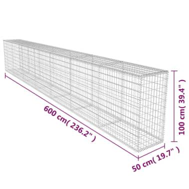 vidaXL Schanskorfmuur met deksel 600x50x100 cm