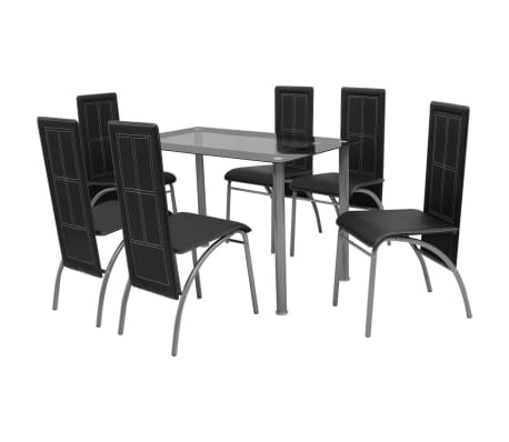 table and 6 chairs upholstered office chair with casters vidaxl black metal 7 pcs dining set kitchen details about room furniture