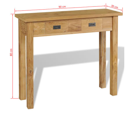 teak sofa table bed with storage uk vidaxl console solid 35 4 x11 8 x31 5 com