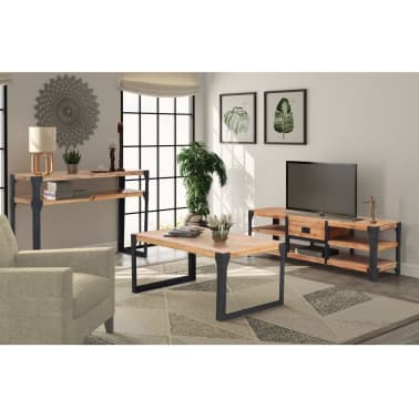 vidaXL Woonkamer meubelset massief acaciahout 3delig