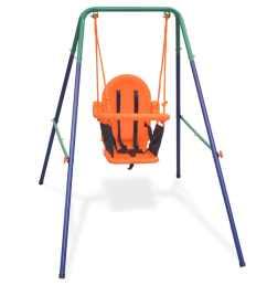 vidaxl toddler swing set with safety harness orange [ 1024 x 1024 Pixel ]