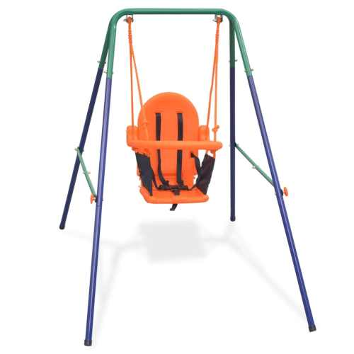 small resolution of vidaxl toddler swing set with safety harness orange