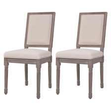 vidaXL Καρέκλες Τραπεζαρίας 2 τεμ. Λευκό Κρεμ 47x58x98 εκ. Λινό Ύφασμα