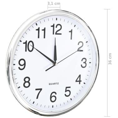 vidaXL Wall Clock with Quartz Movement 36 cm Silver