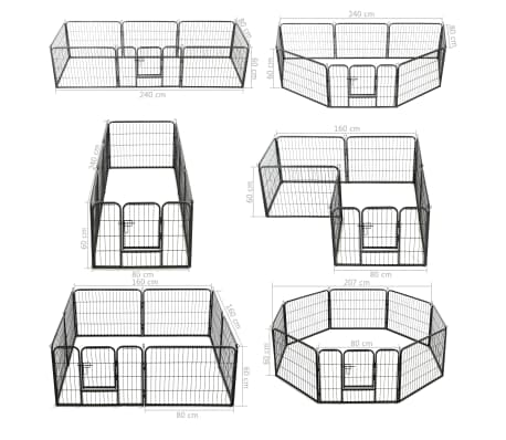 vidaXL Hondenren met 8 panelen 60x80 cm staal zwart online