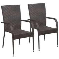 Stacking Dining Chairs Uk Leather Chair With Ottoman Costco Vidaxl Outdoor 2 Pcs Poly Rattan Brown 1 5