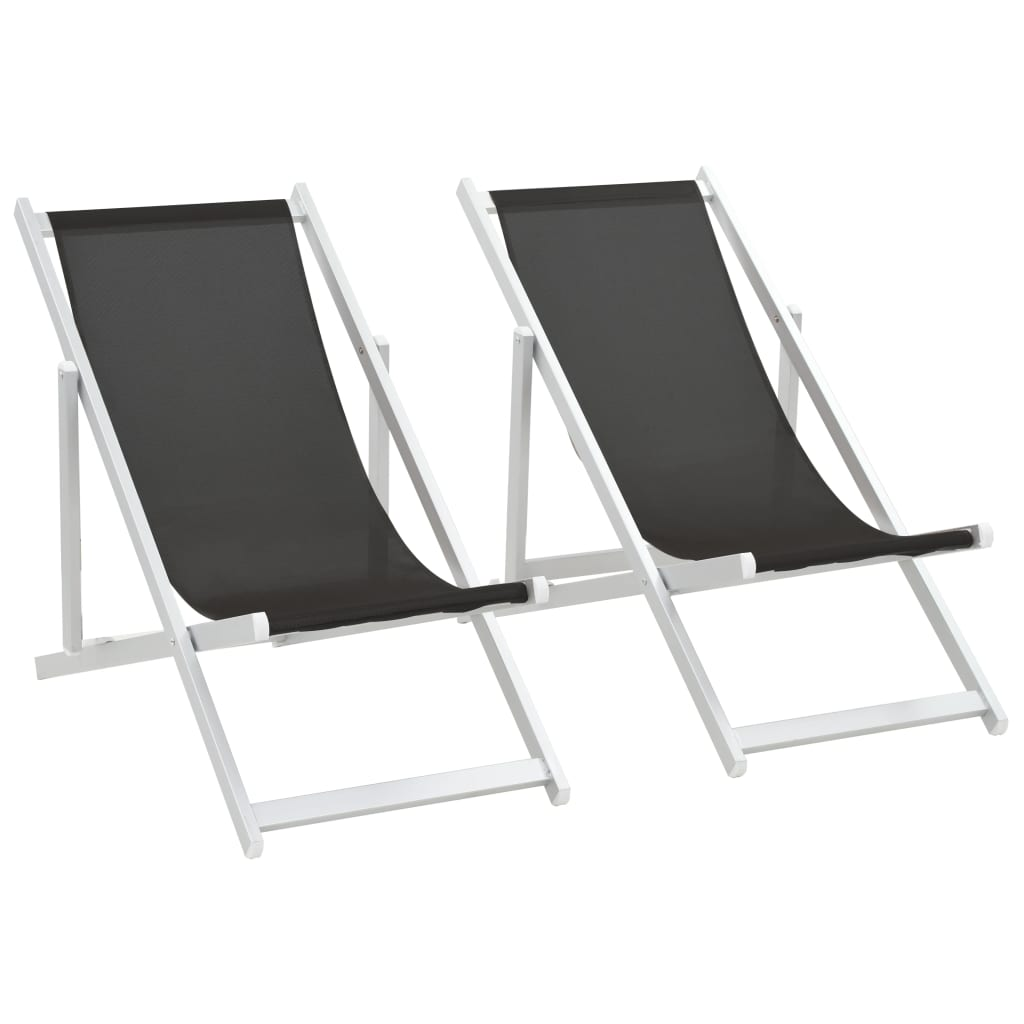 Beach Chairs On Sale Vidaxl Folding Beach Chairs 2 Pcs Aluminium And Textilene Black For Sale In Uk Preloved