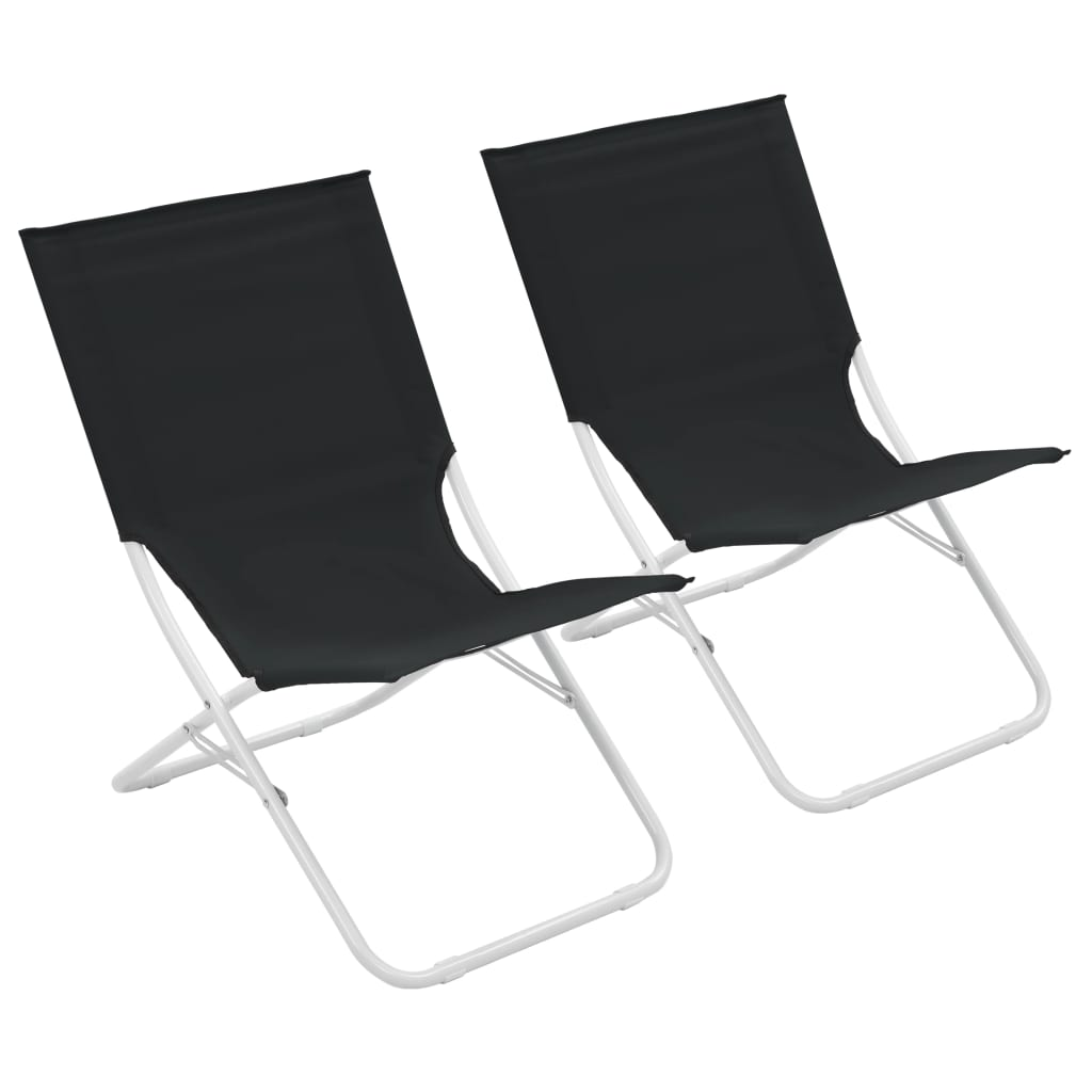 Beach Chairs On Sale Vidaxl Folding Beach Chairs 2 Pcs Black