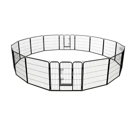 vidaXL Box per Cani con 16 Pannelli in Acciaio 80x80 cm