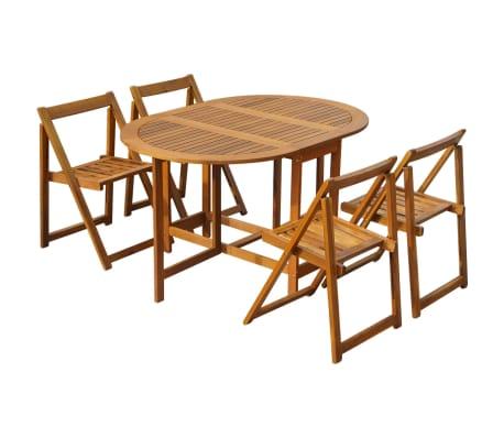 vidaxl 5 piece folding outdoor dining set solid acacia wood