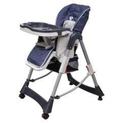 Height Adjustable High Chair Baby Gaming Stand Deluxe Dark Blue Vidaxl Com 1 9