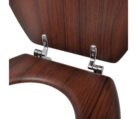 vidaXL Toilet Seats with Hard Close Lids MDF Brown