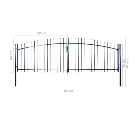 vidaXL Puerta doble para valla con puntas de lanza 400x175