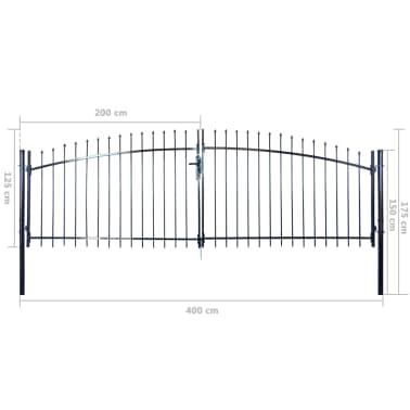Nakupte Dvoukřídlá plotová brána s hroty nahoře 400 x 175