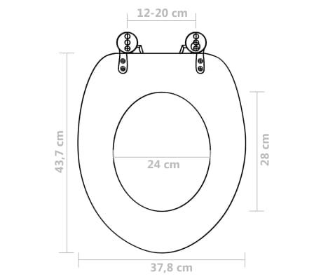 vidaXL Toilet Seats with Hard Close Lids MDF Pebbles