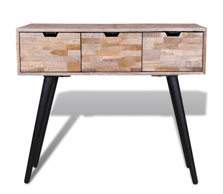 teak sofa table buchanan review vidaxl console with 3 drawers reclaimed wood com 2 9