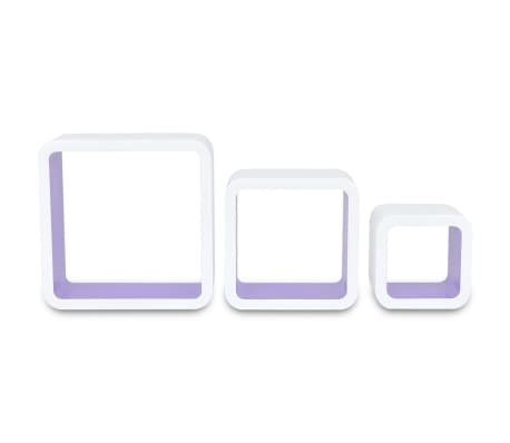 3 White-purple MDF Floating Wall Display Shelf Cubes Book
