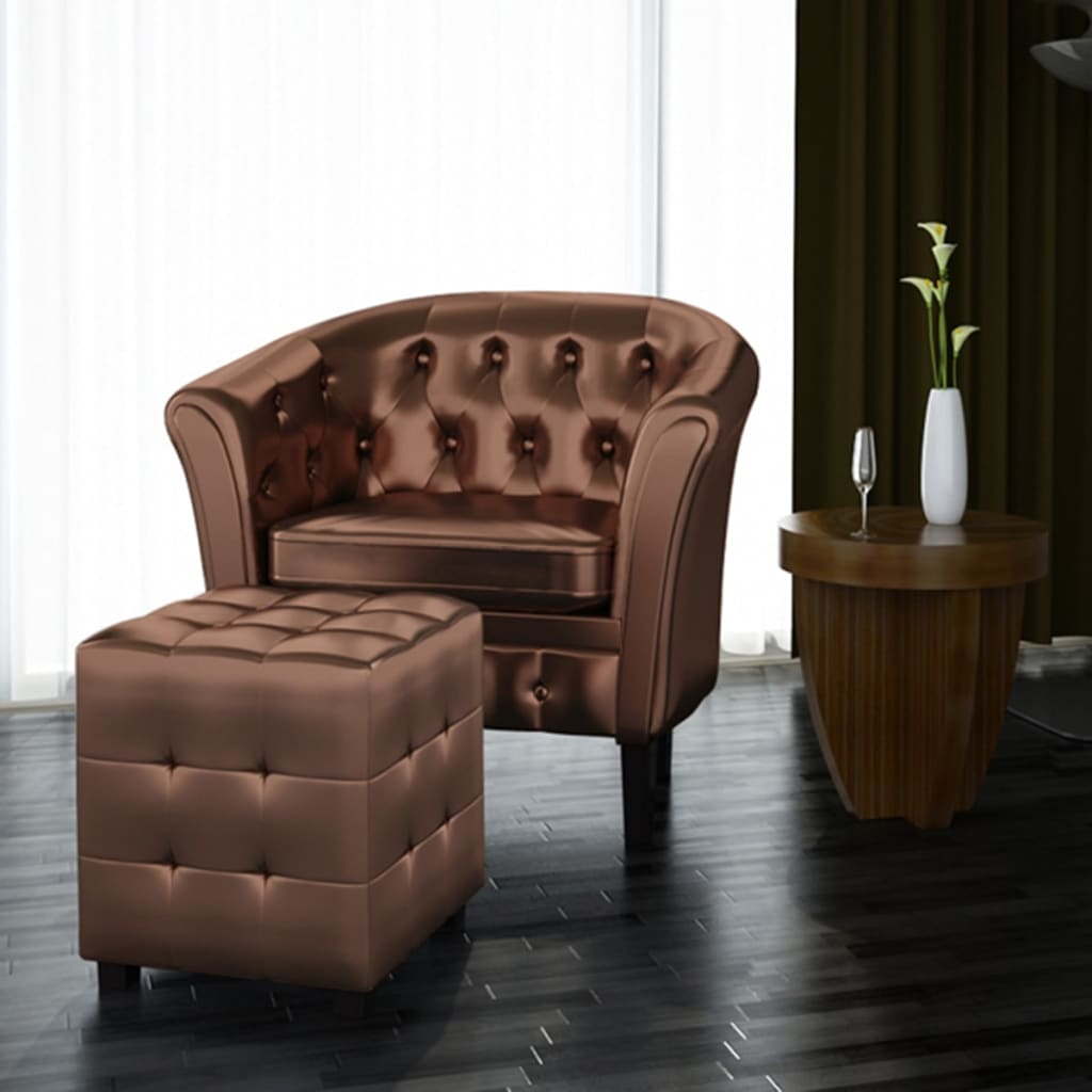 tub chair brown leather adirondack chairs uk luxury artificial armchair with footrest bedroom soft 1 3