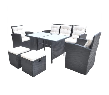vidaxl 6 piece outdoor dining set with cushions poly rattan black