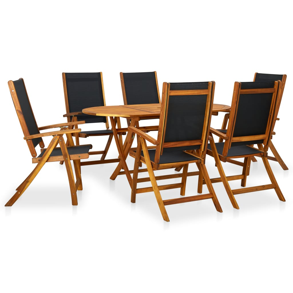 foldable table and chairs garden bourbon barrel 7 pcs outdoor dining set acacia wood patio details about
